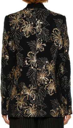Stella McCartney Single-Breasted Wool Cocktail Blazer with Sequined Embroidery