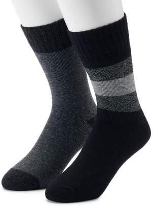 Croft & Barrow Men's 2-Pack Wool Blend Marl Striped Boot Crew Socks