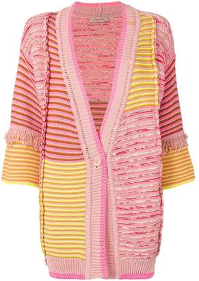 Twin-Set patchwork knit fringed cardigan