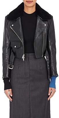 Calvin Klein Women's Shearling-Trimmed Crop Leather Jacket