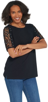 a9a31b1c64f0a Factory Quacker Lace Sleeve Knit T-shirt with Faux Pearl Detail