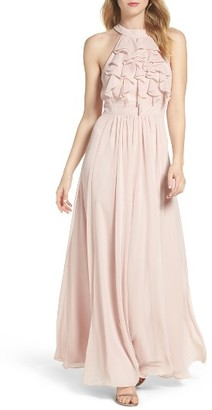 Women's Vince Camuto Ruffle High Neck Gown $198 thestylecure.com