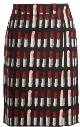 Prada Lipstick Print Midi Skirt - Womens - Black Print