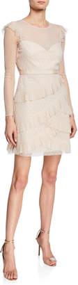 BCBGMAXAZRIA Sheer Point d'Esprit Cocktail Dress