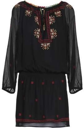 Joie Embroidered Crinkled Silk-Chiffon Mini Dress