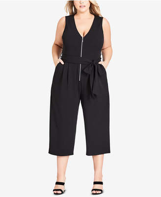 City Chic Trendy Plus Size Obi Belted Cropped Jumpsuit