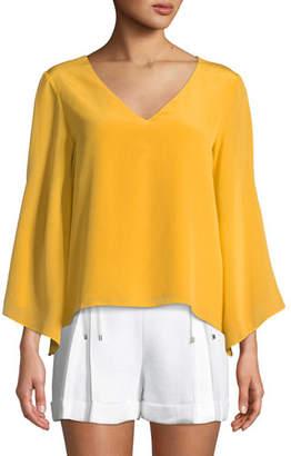 Club Monaco Orie Cape-Sleeve Silk V-Neck Top