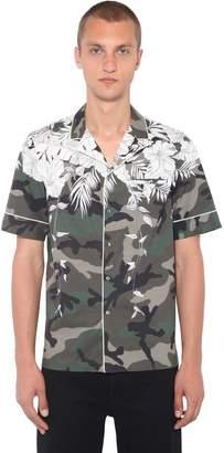 Valentino Hawaii Print Cotton Poplin Bowling Shirt