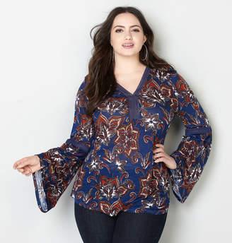 421d7b952ba Avenue Crochet Inset Batik Floral Peasant Top