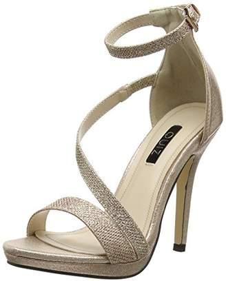 7eaa4f41a9a Quiz Women s Shimmer Strap Heel Sandals Open Toe (Rose Gold 00)