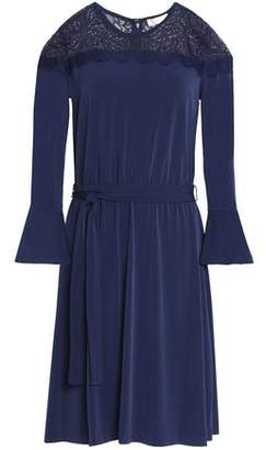 MICHAEL Michael Kors Lace-Paneled Belted Jersey Dress