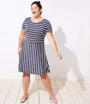 LOFT Plus Striped Cutout Back Flare Dress