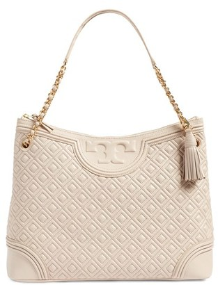 Tory Burch 'Fleming' Leather Shoulder Bag - Beige $595 thestylecure.com