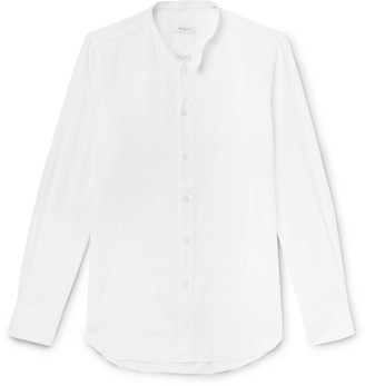 Boglioli Slim-Fit Grandad-Collar Linen and Cotton-Blend Shirt - Men - White