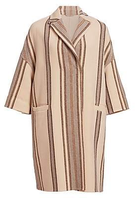 Brunello Cucinelli Women's Stripe Virgin Wool & Cashmere Overcoat