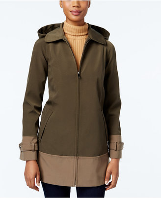 Jones New York Colorblocked Hooded Water-Resistant Raincoat $200 thestylecure.com