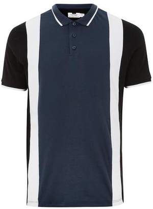 Topman Mens Navy Panel Slim Fit Polo
