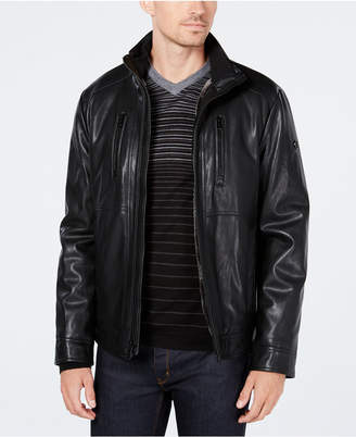 Calvin Klein Men's Faux-Leather Jacket with Faux-Fur Lining