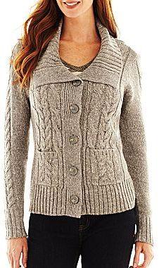 JCPenney St. John's Bay® Cable Cardigan