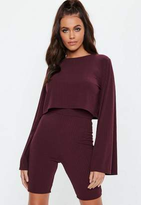 Missguided Burgundy Ribbed Wide Sleeve Crop Top