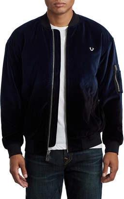True Religion MENS OMBRE VELVET BOMBER JACKET
