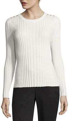 Liz Claiborne Long Sleeve Round Neck Pullover Sweater-Petite