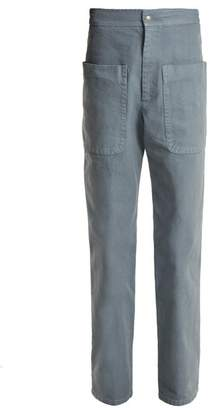 Etoile Isabel Marant Lana Patch Pocket Cotton Canvas Trousers - Womens - Mid Blue