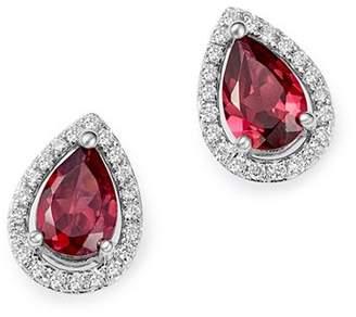 Bloomingdale's Rhodalite & Diamond Teardrop Stud Earrings in 14K White Gold - 100% Exclusive