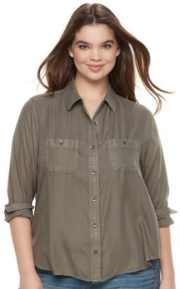 Mudd Juniors' Plus Size Solid Utility Shirt