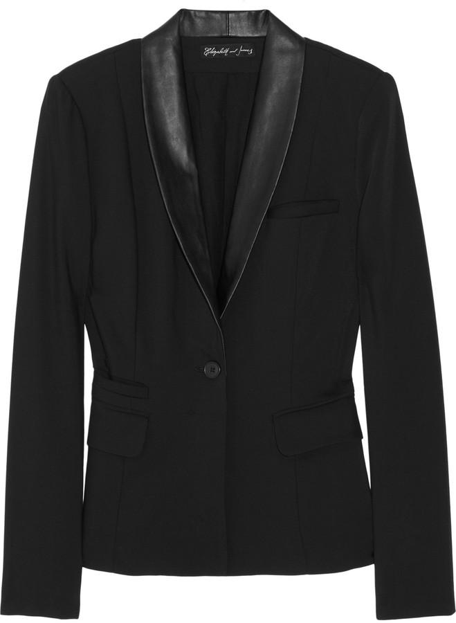 Elizabeth and James Sammy Tux leather-trimmed crepe blazer