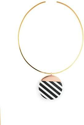 Wouters & Hendrix Women's Gold Plated Copper Round Flat Black and White Striped Resin Charm Choker