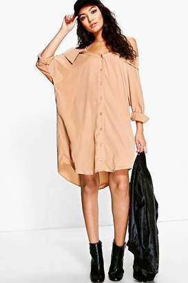 boohoo Cold Shoulder Collar Shirt Dress