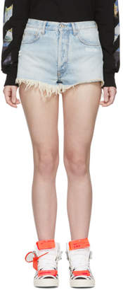 Off-White Blue Denim Five-Pocket Shorts