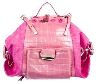 8441c14fab Versace Embossed Leather & Raffia Darling Backpack