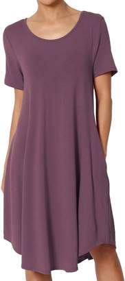 TheMogan Women's Short Sleeve Trapeze Knit Pocket T-Shirt Dress S