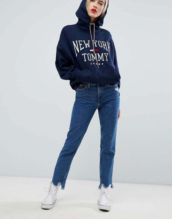 Tommy Jeans High Rise Slim Izzy Jeans With Distressed Hem