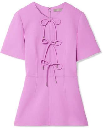 Lela Rose Bow-embellished Wool-blend Crepe Peplum Top - Lavender