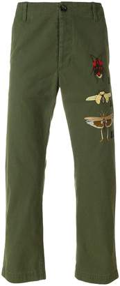 Gucci insect appliquéd chinos