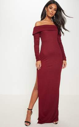 PrettyLittleThing Burgundy Bardot Long Sleeve Split Detail Maxi Dress