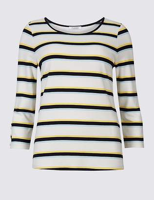 Marks and Spencer Striped Round Neck 3/4 Sleeve Top