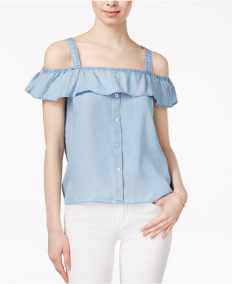 Maison Jules Off-The-Shoulder Flounce Top, Only at Macy's $49.50 thestylecure.com