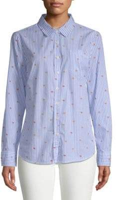 Striped Long-Sleeve Cotton Button-Down Shirt