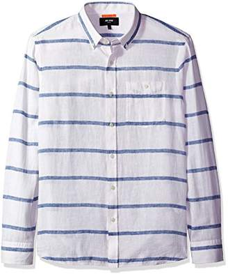 Jack Spade Men's Long Sleeve Linen Horizontal Stripe Shirt