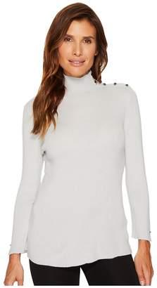 Ellen Tracy Sleeve Slit Detail Turtleneck Women's Sweater