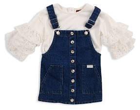 7 For All Mankind Ruffle Top & Denim Overall Dress Set - Baby