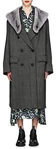 Prada Women's Mink-Fur-Collar Herringbone Virgin Wool Coat - Gray