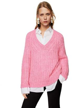 MANGO Pink Cable Knit 'Petalo' V-Neck Long Sleeve Oversize Sweater