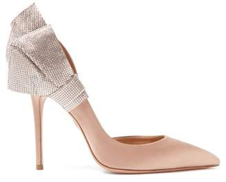 Aquazzura Flash Dance 105 Crystal Embellished Satin Pumps - Womens - Nude