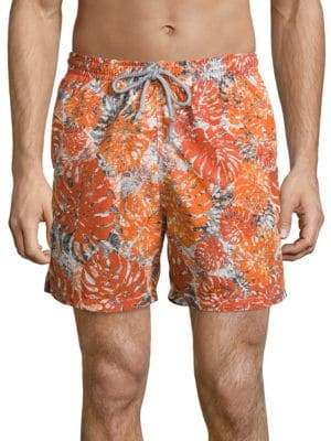 Saks Fifth Avenue COLLECTION Palm Leaf Camo Printed Swim Shorts