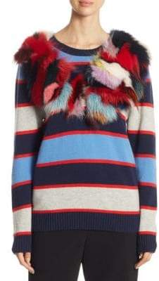 Fox Fur-Trimmed Multi-Stripe Cashmere Sweater